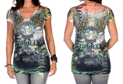 Women's Short Sleeve Woman Warrior & Wings Top<br/><b>Available in Camo</b><br/>ITEM # 7432
