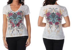 Women's Short Sleeve Wrapped in Roses Top<br/><b>Available in White</b><br/>ITEM # 7339