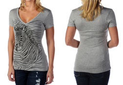 Women's Short Sleeve Zebra Stripes Top<br/><b>Available in Grey</b><br/>ITEM # 7071