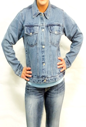 Women's Snap Denim Jacket<br/><b> Colors - Black & Denim</b>