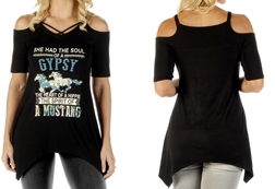 Women's Soul of a Gypsy Cold Shoulder Criss-Cross Sharktail<br/><b>Colors- Black & Sage</b><br/>ITEM# 7940