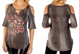 Women's Starburst Cross Cold-Shoulder Top w/ Bell Sleeves<br/><b>Available in Mineral Wash Grey</b><br/>ITEM # 7667