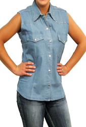 Women's Studded Denim Cutoff Shirt<br/><b>Colors -  Denim</b>