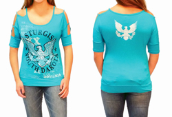 Women's Sturgis Patriot Strap Shoulder Fashion Top<br/><b>Colors- Jade & Black<br/>ITEM # S7646</b><br/>ON CLEARANCE