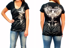 Women's Sturgis Wing & Cross Cap Sleeve Shirt<br/><b>Color- Black<br/>ITEM # S7062</b><br/>ON CLEARANCE