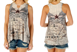 Women's Sturgis Wings & Cartography Loose Fit Tank Top<br/>ITEM # S7529