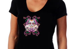 Women's Sugar Skulls w/ Floral Background Top<br/><b> Color - Black</b><br/>ITEM# 17606