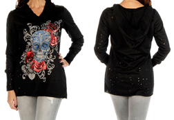 Women's Tattered Sugar Skull Pull-Over Hoodie<br/><b>Available in Black</b><br/>ITEM # 8251