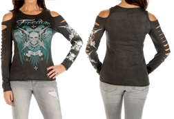 Women's Tread Lightly Long Sleeve Top with Cut Sleeves<br/><b>Available in Grey Mineral Wash</b><br/>ITEM # 7796
