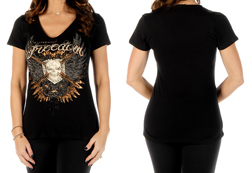 Women's Tread Lightly short sleeve v-neck top<br/><b>Available in Black</b><br/>ITEM # 7081