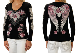 Women's V-Neck Long Sleeve Shirt With Pink Rose & Heart Graphics <br/> <b> Colors - Black</b>