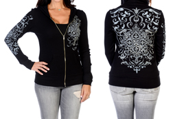 Women's Vintage Crystal Hoodie<br/><b>Available in Black</b><br/>ITEM # 8124