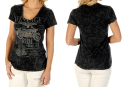 Women's Vintage Ride Short Sleeve V-Neck Top<br/><b>Available in Mineral Wash Grey</b><br/>ITEM # 7755