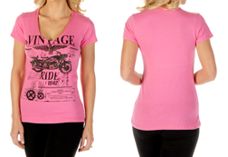 Women's Vintage Ride Short Sleeve V-Neck Top<br/><b>Available in Pink</b><br/>ITEM #7155