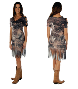 Women's  Western Romances Fringed Dress<br/><b>Colors- Smoke</b><br/>ITEM#8405