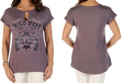 Women's Wild West relaxed fit short sleeve top<br/><b>Available in Light Purple</b><br/>ITEM # 7013