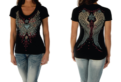 Women's Wings and Stars Black Top<br/><b>Color- Black</b><br/>ITEM# 7154