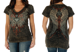 Women's Wings and Stars Brown Mineral Wash Top<br/><b>Color- Brown</b><br/>ITEM# 7754