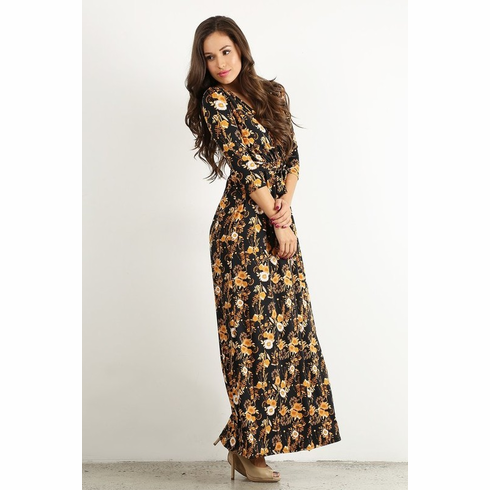 Black & Yellow Floral Maxi