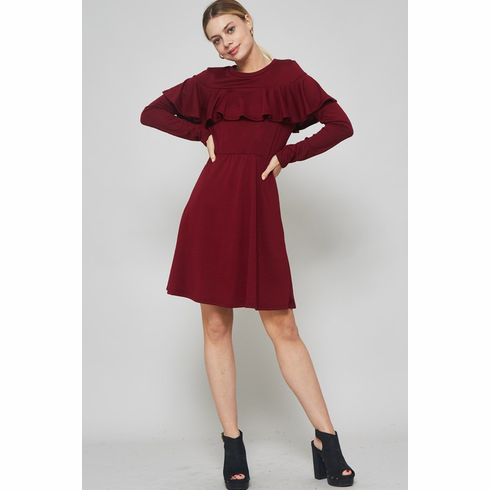 Burgandy Ruffled  Front Dress