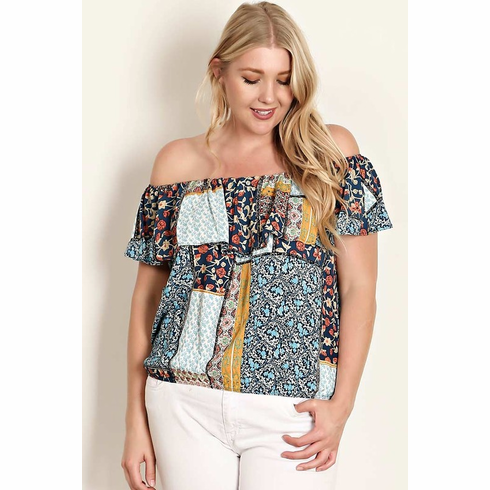 Multi-colored off the shoulder blouse