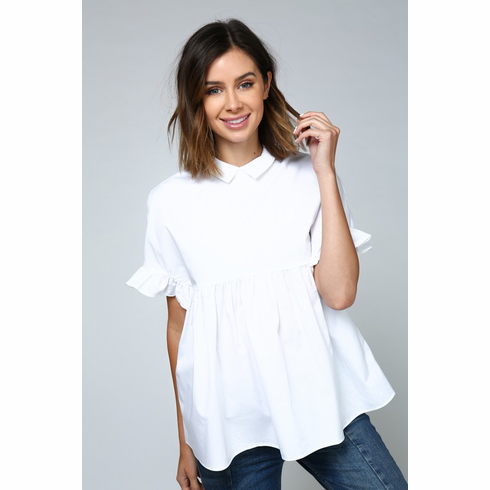 White Flowy Cut-out Back Top
