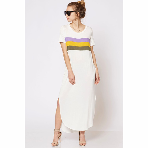 White Top Striped Tee Shirt Dress with pockets