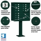 Cluster Box Unit - 12 A Size Doors - Type II - Green - USPS Access