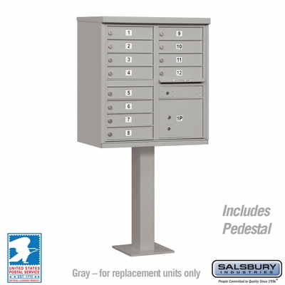 Cluster Box Unit - 12 A Size Doors - Type II - Grey - USPS Access