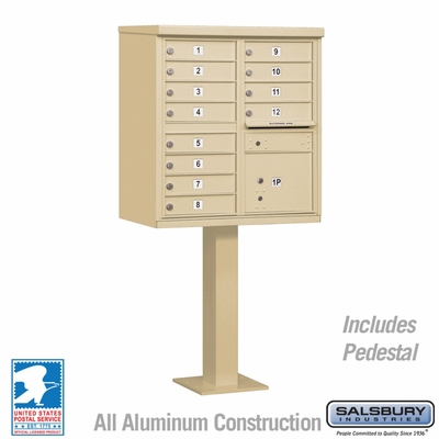 Cluster Box Unit - 12 A Size Doors - Type II - Sandstone - USPS Access