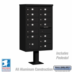 Cluster Box Unit - 13 B Size Doors - Type IV - Black - USPS Access