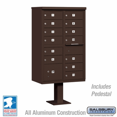 Cluster Box Unit - 13 B Size Doors - Type IV - Bronze - USPS Access
