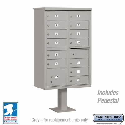 Cluster Box Unit - 13 B Size Doors - Type IV - Grey - USPS Access