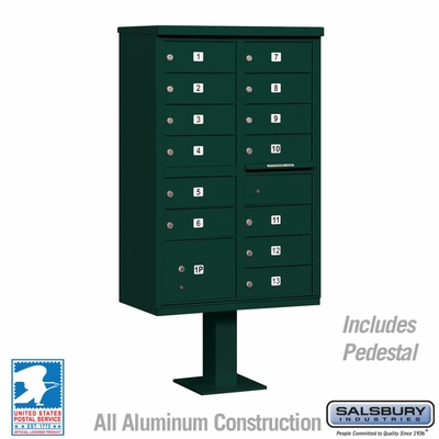 Cluster Box Unit - 13 B Size Doors - Type IV - Green - USPS Access