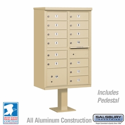 Cluster Box Unit - 13 B Size Doors - Type IV - Sandstone - USPS Access