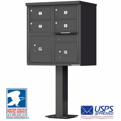4 Door CBU Mailboxes with Extra Large Tenant Doors Bronze