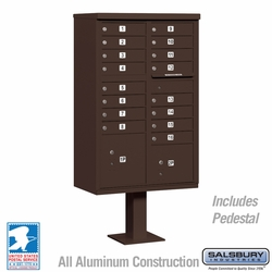 Cluster Box Unit - 16 A Size Doors - Type III - Bronze - USPS Access