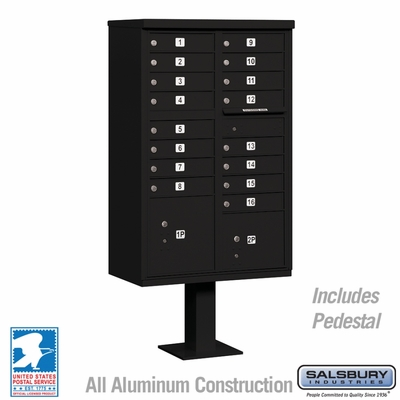 Cluster Box Unit - 16 A Size Doors - Type III - Black - USPS Access