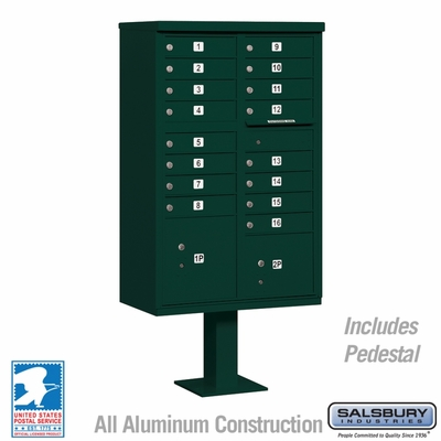 Cluster Box Unit - 16 A Size Doors - Type III - Green - USPS Access