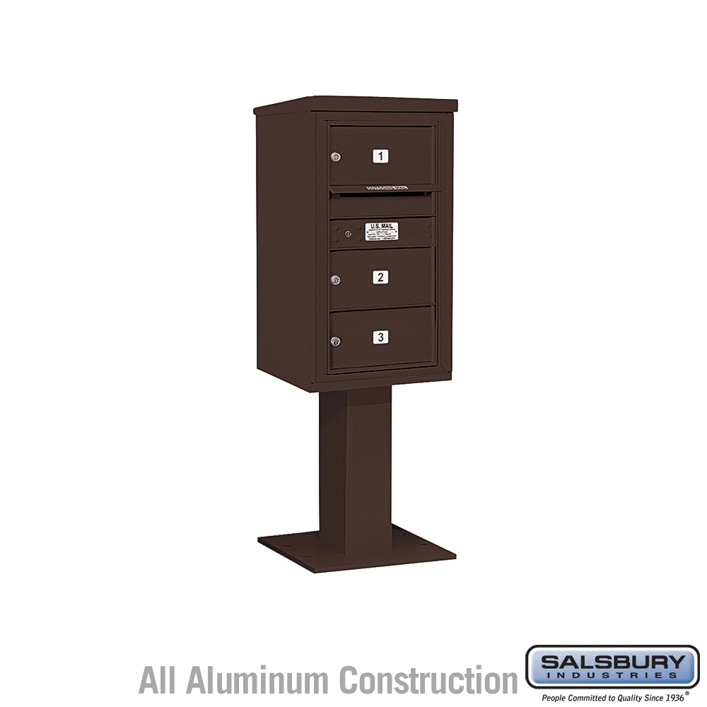 4C Pedestal Mailbox (Includes 26 Inch High Pedestal And Master Commercial  Lock)   8 Door High Unit (58 5/8 Inches)   Single Column   3 MB2 Doors    Bronze