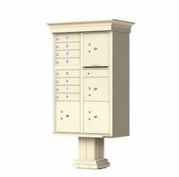 Decorative Crown Cap CBU Commercial Mailboxes - 8 Door with 4 Parcel Lockers - Sandstone