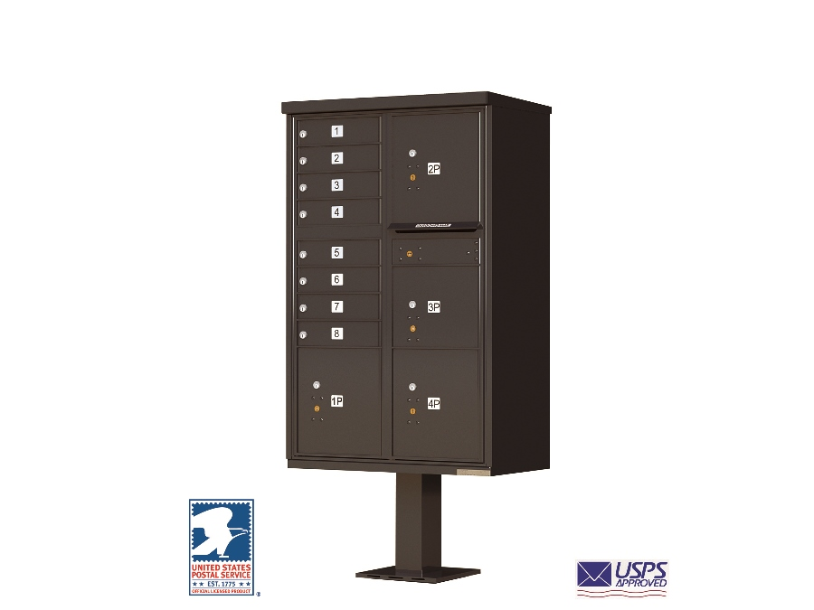 Cbu commercial mailboxes 8 door with 4 parcel lockers for Auth florence