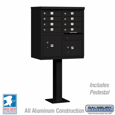 Cluster Box Unit - 8 A Size Doors - Type I - Black - USPS Access