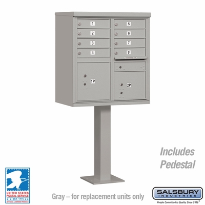 Cluster Box Unit - 8 A Size Doors - Type I - Grey - USPS Access