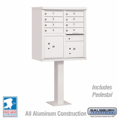 Cluster Box Unit - 8 A Size Doors - Type I - White - USPS Access