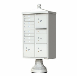 Decorative Traditional CBU Commercial Mailboxes - 8 Door with 4 Parcel Lockers - Gray