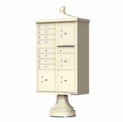 8 Tenant Door 4 Parcel Locker CBUs with Finial & Round Pedestal