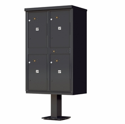 Outdoor Parcel Locker with Pedestal in Sandstone - 4 Parcel Units - Black