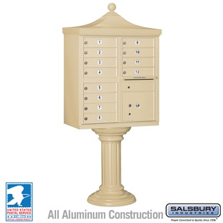 Regency Decorative 12 Door CBU - Cluster Mail Box - Sandstone
