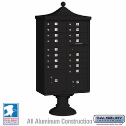 Regency Decorative 16 Door CBU - Cluster Mail Box - Black